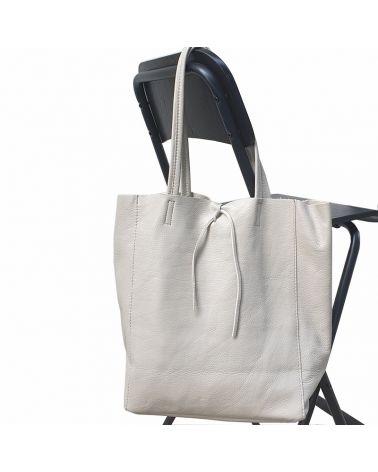 sac shopper cuir gris clair