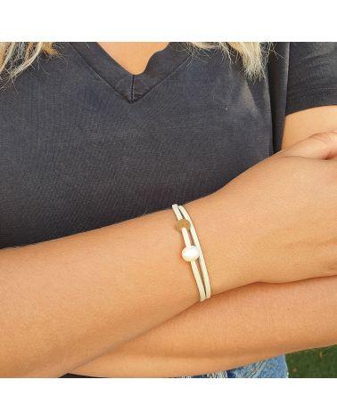 bracelet  lien beige perle culture