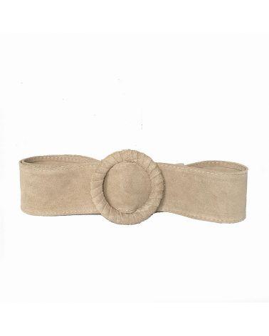 ceinture large daim beige
