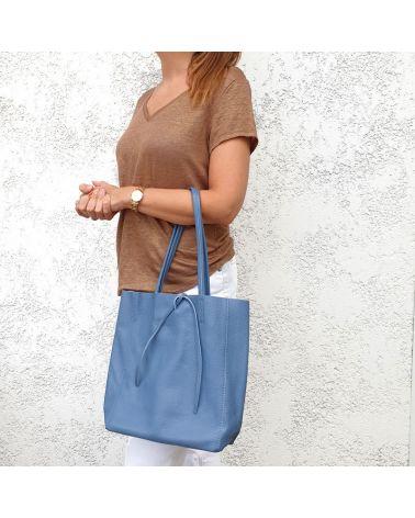 sac shopper cuir bleu