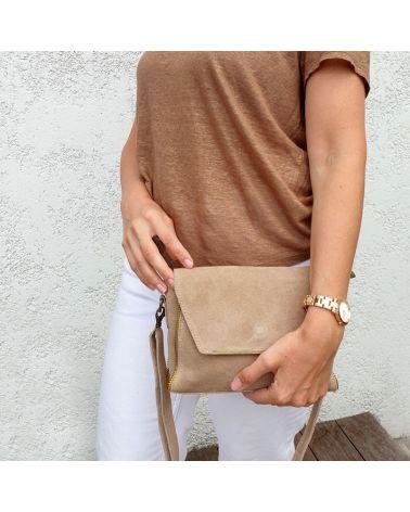 sac à bandoulière daim beige