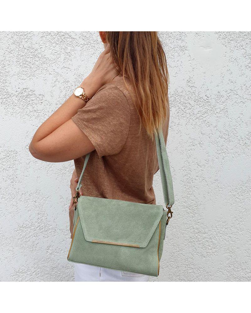 sac à bandoulière daim vert amande