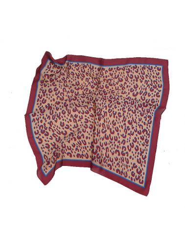 carré satin léopard rouge