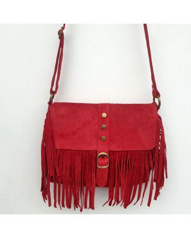 sac à franges it hippie rouge