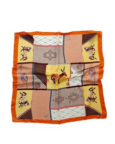 foulard imprimé equestre orange