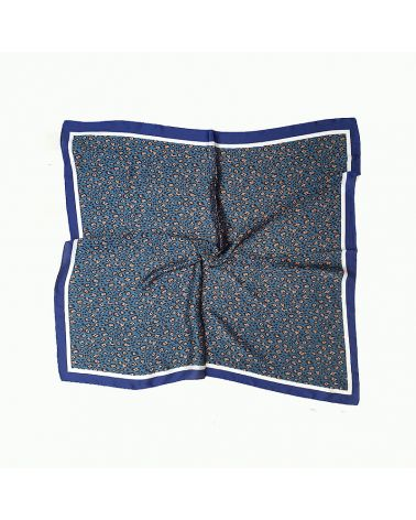 foulard satin léopard  bleu