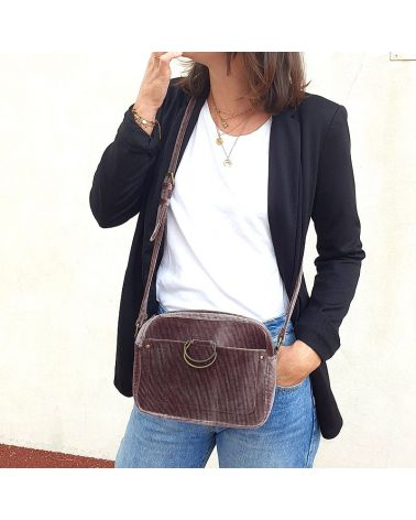 sac velours taupe