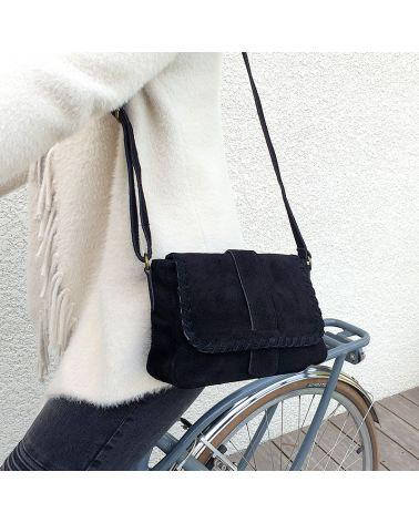 sac bandouière daim noir