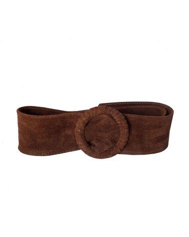 ceinture large daim chocolat