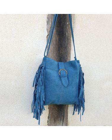 sac boho franges bleu pétrole