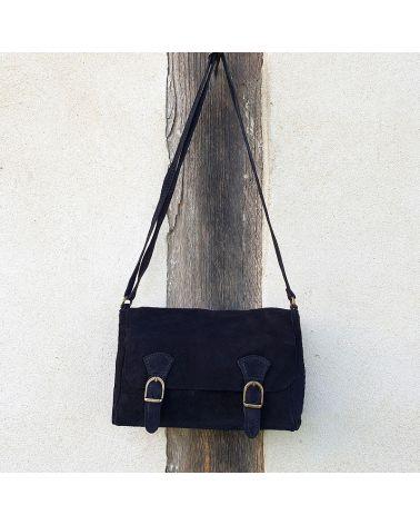 sac bandoulière double boucle noir