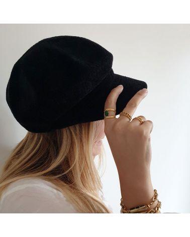 casquette velours fin noir