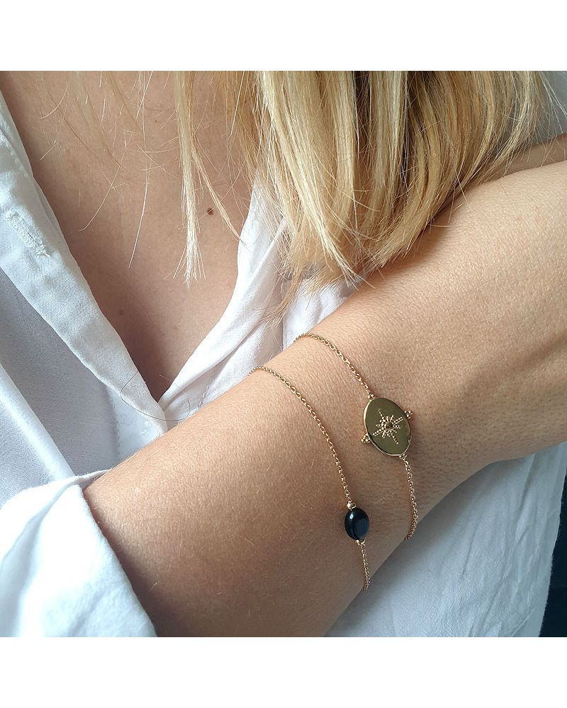 bracelet fin agate noire
