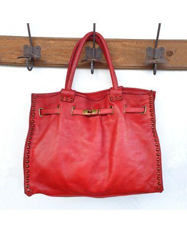 sac cuir vintage rouge