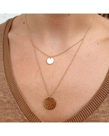 collier or double chaine pastille