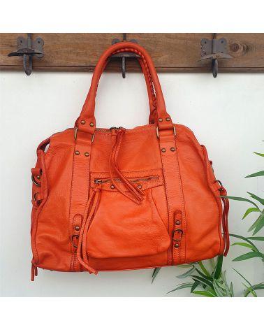 sac cuir vintage orange