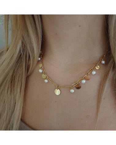 collier doré pastilles perles