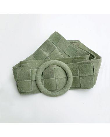 ceinture cuir tressé vert