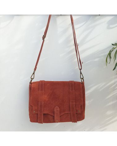 sac messenger daim terracotta