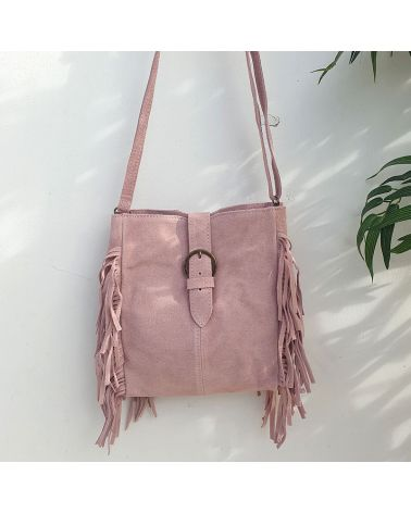 sac boho franges rose