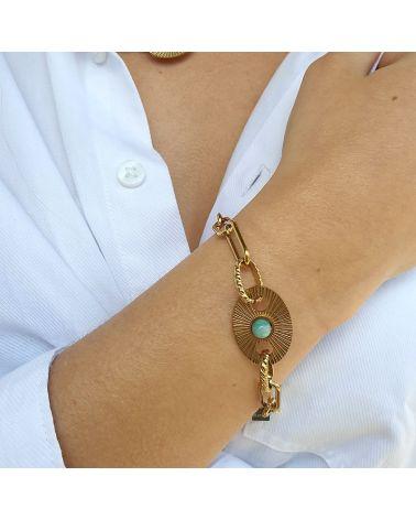 bracelet maille large turquoise