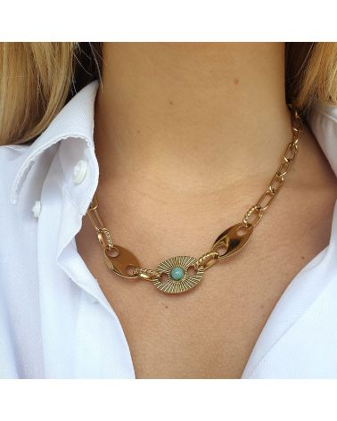 collier maille large turquoise