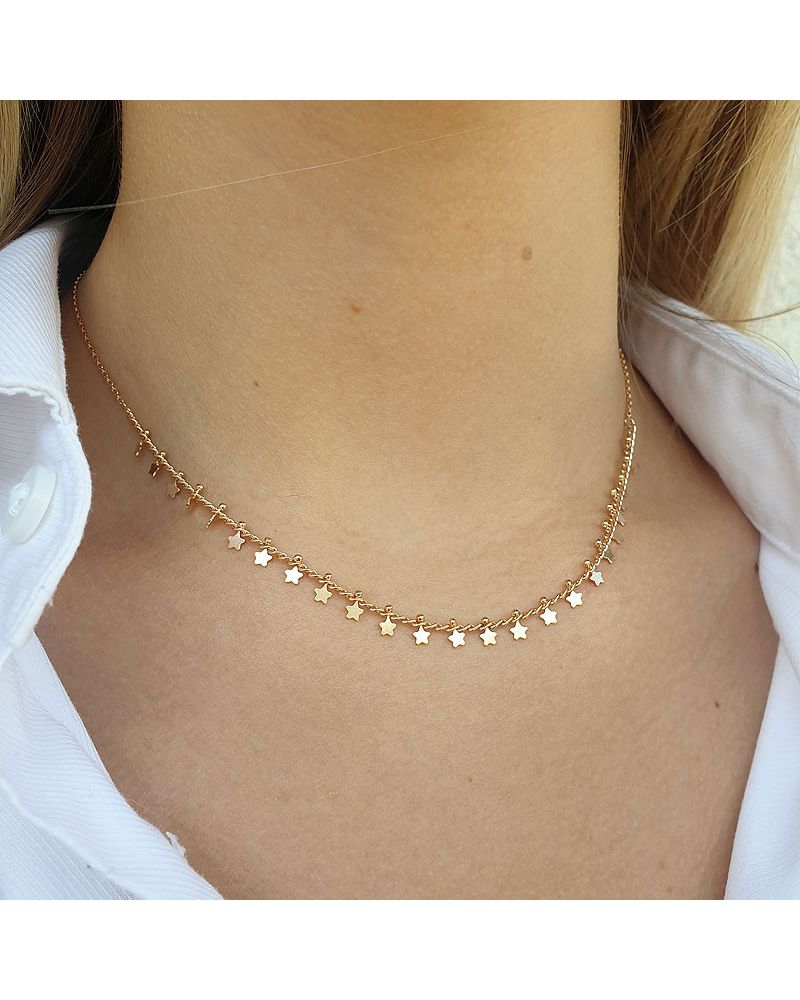 collier or pampilles etoiles