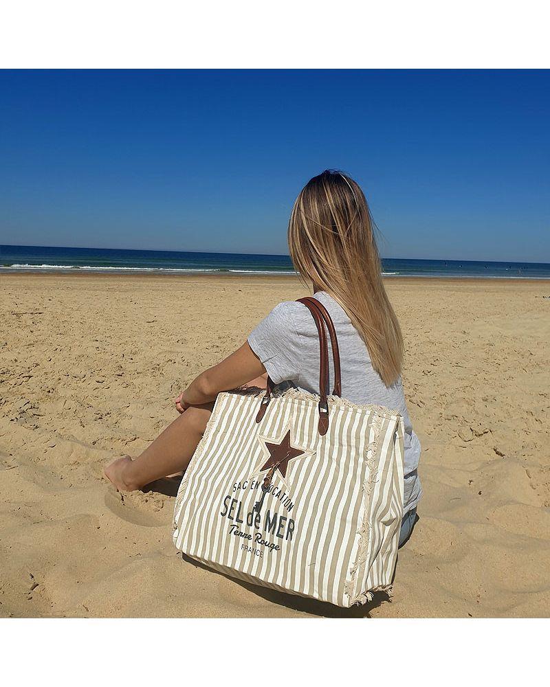 sac de plage sel de mer rayures