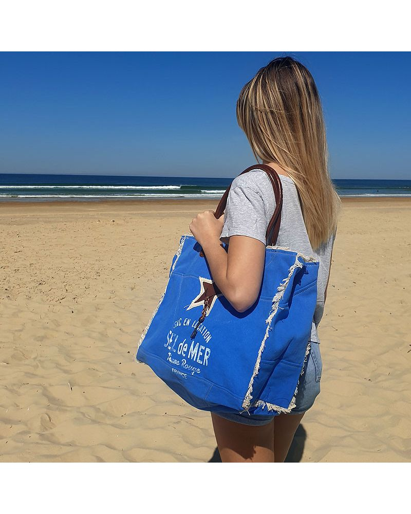 sac de plage sel de mer bleu roi