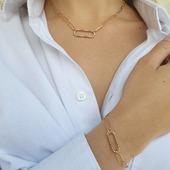 Maille trombone, collier ou bracelet Plaqué Or 18 kt #bijouor #collieror #braceletor #jewelry #trendy #goldplated #jewelsofinstagram #bijouxcontemporains #collierfemme #zoshacollection