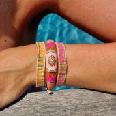 Un joli combo de bracelets colorés, rien de tel pour sublimer votre bronzage !  Ici, le nouveau jonc émaillé MILË MILA mixé avec nos bracelets de perles Miyuki 🧡🌊💜 #bracelets #braceletsoftheday #bijoux #bijouxaddict #ete2021 #timetochill #hossegor #zoshacollection