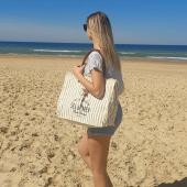Le grand sac de plage, un de vos modèles préférés, pour une journée plage au top ! #sacdeplage #sacplage #hossegor #sacsfemme #beachbag #toilerecyclée #sactoile #lesestagnots #lifeisbetteratthebeach #zoshacollection